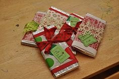 The gift of Chocolate. Decorate a bar of chocolate!!! Rewrap Hershey bars with other paper and put in stockings