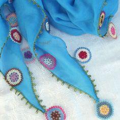 Turkish OYA Lace - Otantic scarf -Sky blue A by DaisyCappadocia on Etsy