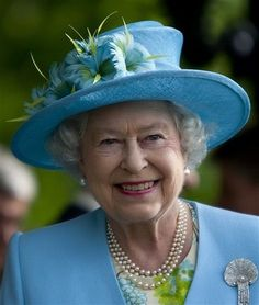 Wearing Blue Queen Elizabeth II - - - The second longest reigning monarch of Great Britain, over 60 years. Hm The Queen, Royal Queen, Her Majesty The Queen, Save The Queen, Duchess Of York, Duchess Of Cambridge, British Royal Families, British Family, Queen Hat
