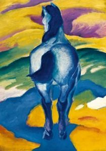 Blaues Pferd II  by Franz Marc Franz Marc, Painted Horses, Arte Equina, Expressionist Artists, Blue Horse, Love Posters, Oil Painting Reproductions, Equine Art, Horse Art