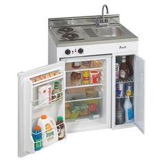 """Avanti 30"""" Wide - Compact Kitchen - Stainless Steel Top. for living in the garden shed while the main house is built."""