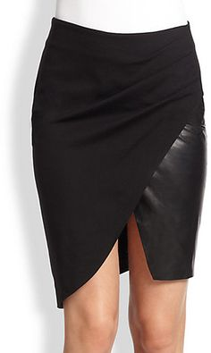 Halston Heritage Ponte & Leather Pencil Skirt Halston Heritage, Dress Skirt, Rock, My Style, Pencil, Fall Winter, Autumn, Leather, How To Wear