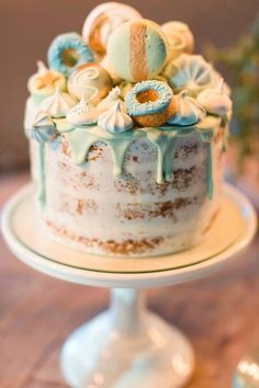 Dessert-topped semi naked cake from a Vintage Carousel Baptism Party on Kara's Party Ideas | KarasPartyIdeas.com (8)