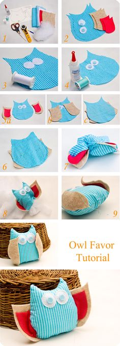 Owl favor tutorial buhos,Craft Ideas,sewing tuts and ideas, Fabric Crafts, Sewing Crafts, Sewing Projects, Softies, Diy Projects To Try, Crafts To Make, Owl Parties, Owl Always Love You, Owl Crafts