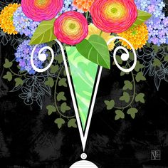 The Letter V for Vase of Various Flowers     Here is a new addition to my Alphabet Soup of Illustrated Letters   with a new Version  o...