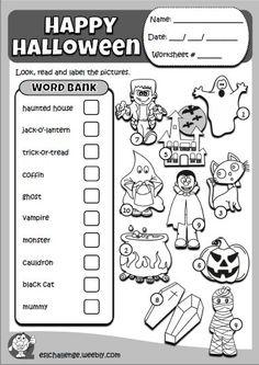 Halloween set - eslchallenge Halloween Vocabulary, Halloween Worksheets, Vocabulary Activities, Color Activities, Cool Kids, Kids Fun, Halloween Spells, English Teaching Resources, English Classroom