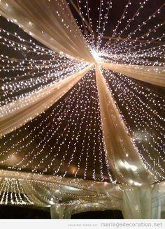 Tente tulle et lumières, déco mariage exterieur
