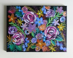 Flower Painting, Flower Art, Floral Art, Rainbow Flowers, Abstract Flowers, Roses, Tropical, Acrylic Painting, 11x14 Canvas Painting