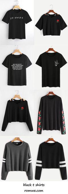 black t shirts 2017 - romwe.com