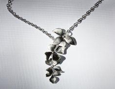Silver tone cascading wild orchids asymmetric Y by portobellobelle, $18.90