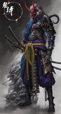 """the undefeated demon samurai"" Arte Ninja, Ninja Kunst, Ninja Art, Ronin Samurai, Samurai Warrior, Samurai Anime, Character Concept, Character Art, Concept Art"