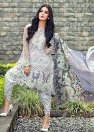 Party Wear Purple Glace Cotton Embroidered Work Salwar Kameez