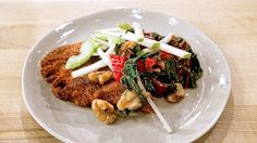Michael Symon's Chicken Schnitzel with Sautéed Swiss Chard and Apple Celery Salad