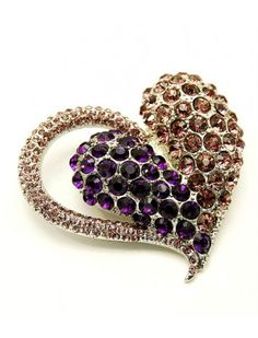 FUNKY PURPLE CRYSTAL HEART BROOCH - COSTUME JEWELLERY - View All Brooches - Brooches - Jewellery