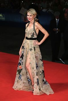 Naomi Watts in an embroidered Elie Saab Haute Couture gown with a thigh-high slit and Jimmy Choo accessories at the premiere of 'The Bleeder, 2016 Venice Film Festival.