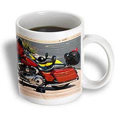 - Jos Fauxtographee Realistic - A Burnt Orange and Yellow Harley-Davidson® Parked Outside The Showroom in Utah - 15 oz mug Burnt Orange, Showroom, Utah, Harley Davidson, The Outsiders, Mugs, Park, Yellow, Tableware
