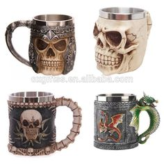 OXGIFT Wholesale Manufacturing Factory Price Amazon Stainless steel 3D resin pirate Skeleton Skull head Red wine Glasse