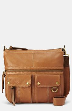 Generously textured pebbled leather and bountiful pockets lends subtle earthy appeal to a street-chic handbag. Color(s): black, cream, saddle. Brand: Fossil. Style Name: Fossil 'Morgan' Shoulder Bag. Style Number: 937621.