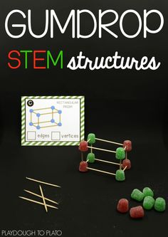 Gumdrop STEM Structures - Playdough To Plato Toothpick and gumdrop STEM structures! Awesome STEM activity for the holidays. You could swap out t 3d Shapes Activities, Christmas Activities, Stem Activities, Stem Preschool, Kindergarten Stem, Learning Activities, Stem Structure, Playdough To Plato, Stem Projects