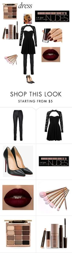 """Bold in black"" by skinglauren ❤ liked on Polyvore featuring Boohoo, Christian Louboutin, Charlotte Russe, Stila and Laura Mercier"