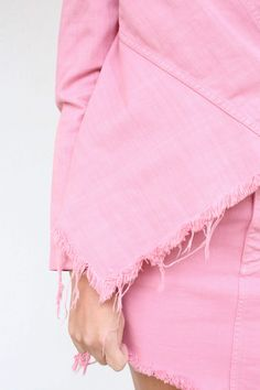 Pink deconstructed denim jacket