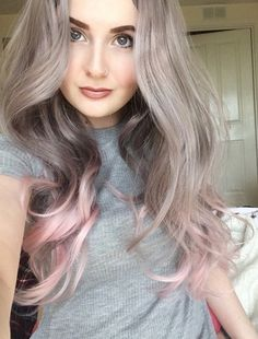 Image of Pink Fades, Grey Pink Dip Dye Ombre Curls Waves Natural Cosplay Wig