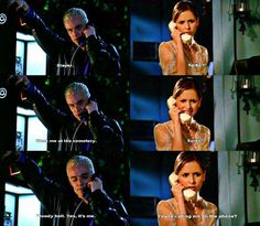 One of the funniest phone conversations on TV. Spike trying to sound evil and threatening, and Buffy paranoid that his every word is an innuendo for sex LOL.
