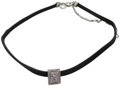 """CZ BY Kenneth Jay Lane 2CTTW Rectangle CZ Pave Station Rhodium Plated Leather Choker Necklace. CZ BY Kenneth Jay Lane 2CTTW Rectangle CZ Station Rhodium Plated Leather Choker Necklace. 12"""" leather cord, with a 3"""" adjustable extender. Center rectangle station measures approx: .4"""". Lobster claw clasp. Packaged inside a CZ by KJL pouch."""