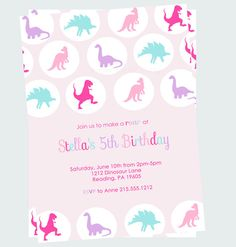 Pink Dinosaur Birthday Party Invitations Girls by PaperCleverParty