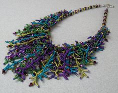 Peacock Seed Bead and Crystal Fringe Necklace by hangingbyawire, $75.00