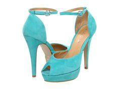Aqua blue ankle strap peep toe suede heel aldo