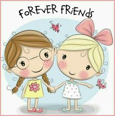 Illustration of Two Cute cartoon girls keep for hands vector art, clipart and stock vectors.