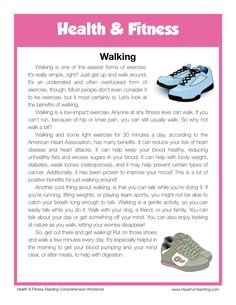 This Reading Comprehension Worksheet - Walking is for teaching reading comprehension. Use this reading comprehension story to teach reading comprehension. The Effective Pictures We Offer You About Rea Reading Comprehension Activities, Reading Fluency, Reading Passages, Reading Worksheets, Comprehension Questions, Alphabet Worksheets, English Reading, English Writing, Teaching English