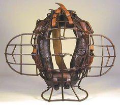 1910 Catcher's Mask from The Sports Memorabilia Museum. Baseball Equipment, Sports Equipment, Baseball Uniforms, Football Helmets, Baseball Catchers Gear, Clint Frazier, Twins Baseball, Gyms Near Me, Baseball Pictures