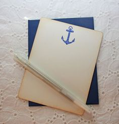Blue Anchor Nautical Stationary - Set of 6 cards and envelopes