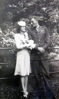 Sgt. George and Margaret Hire are pictured on their wedding day during World War II. Photo provided