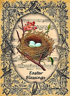 Vintage Easter card. Could be done. Thinking of something similar for a Valentine.