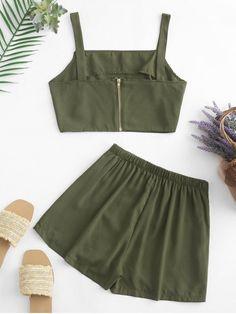 Bikini Volante, Bikini Push Up, Mini Vestidos, Street Style Summer, Two Piece Outfit, Green And Purple, Army Green, Casual, Short Dresses
