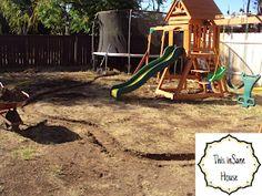 This inSane House: DIY Concrete Edger or Retaining Curb Concrete Landscape Edging, Concrete Edger, Concrete Bags, Concrete Curbing, Landscape Borders, Diy Concrete, Big Garden, Small Garden Design, Diy Playground