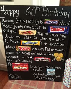ideas birthday poster funny for 2019 60th Birthday Cards, Happy 60th Birthday, 90th Birthday Parties, Birthday Candy, Dad Birthday, Funny Birthday, 60 Birthday Party Ideas, 60th Birthday Ideas For Women, 60th Birthday Decorations