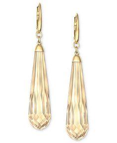 Swarovski Earrings, 18k Gold-Plated Golden Shadow Crystal Drop Earrings