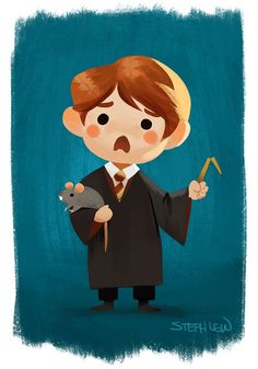 Ron and Scabbers by Steph Lew Art