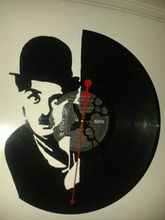 Chaplin vinilo Vinyl Record Crafts, Vinyl Record Clock, Vinyl Art, Vinyl Records, Arte Country, Tape Art, Crafts With Pictures, Diy Clock, Wooden Clock