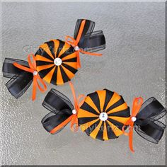Halloween  Hair Clips Halloween Hair Bow Peppermint by GirlyKurlz, $12.50