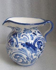 HAND PAINTED THROWN WHITE PORCELAIN COBALT BLUE WHITE JUG PITCHER CREAMER SIGNED