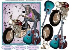Music Biker Woman Topper Decoupage on Craftsuprint designed by Barbara Hiebert - This is a woman and her bike and Guitars on a background with musicThe sentiment tags say,Happy BirthdayBest WishesJust For YouThis card topper could easily be used for both male of females. - Now available for download!