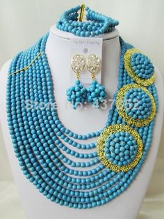 Charming Bule Turquoise Necklace Nigerian Wedding African Beads Costume Jewelry Set 2014 New Free Shipping TC035 $68.97