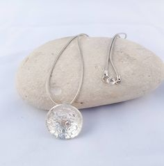 Sterling silver organic necklace, textured domed pendant, contemporary necklace , minimalist pendant on chain, organic silver necklace Handmade Necklaces, Silver Necklaces, Solitare Ring, Blue Zircon, Sea Glass Jewelry, Pendants, Stud Earrings, Gemstones, Sterling Silver