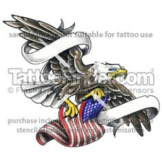 TattooFinder.com: Where Freedom Flys tattoo design by Ray Reasoner, eagle, american, patriotic, banners, name, rememberance, in memory, military, flag