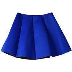 Choies Blue Pleated Skirt Mini Skater Skirt (11 CAD) ❤ liked on Polyvore featuring skirts, mini skirts, bottoms, saias, blue, blue circle skirt, skater skirt, flared skirt, mini skater skirt and blue skater skirt